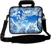 Laptoptas 15,6 inch blauwe wereldkaart - Sleevy