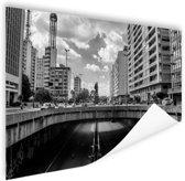 Sao Paulo zwart-wit Poster 150x75 cm - Foto print op Poster (wanddecoratie woonkamer / slaapkamer) / Steden Poster