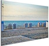 Strand aan de Noordzee met huisjes Aluminium 30x20 cm - Foto print op Aluminium (metaal wanddecoratie)