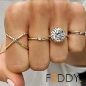 5 delige ringen groots met glimmers goud kleur