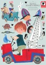 Muursticker Fiep Westendorp: Jongen met dieren