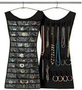 Zwart jurkje met 30 vakjes voor sieraden - oorbellen ringen armbanden - 70 x 36 centimeter - Dielay