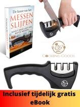 Hoge Kwaliteit Kitchen Kings Messenslijper | 3 verschillende slijpkoppen |  antislipvoet | Eenvoudig en veilig messen vlijmscherp slijpen | Roestvrijstaal | Zwart + GRATIS Messenslijper eBook