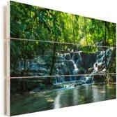 Jungle waterval in Palenque Mexico Vurenhout met planken 120x80 cm - Foto print op Hout (Wanddecoratie)