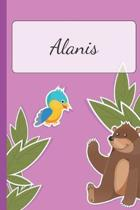 Alanis: Personalized Name Notebook for Girls - Custemized with 110 Dot Grid Pages - A custom Journal as a Gift for your Daught