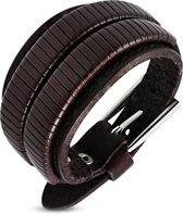 Amanto Armband Djulian Brown - Heren - Leer - 35 mm - 26 cm (aanpasbaar)