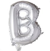 letterballon - 41 cm - zilver - B