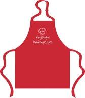 Mijncadeautje - Kinderschort met naam - rood -  Keukenprinses  - met eigen naam naar keuze