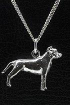 Zilveren Amerikaanse staffordshire terrier oren ongecoupeerd ketting hanger - groot