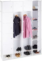 Relaxdays kledingkast kliksysteem - 18 vakken - kunststof garderobekast - linnenkast wit