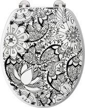 Allibert wc-bril BLACK FLOWER - Geperst hout - inox scharnieren - Decor