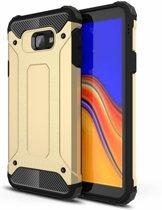 Ntech Samsung Galaxy J4+ Hybrid Armor Hoesje - Goud