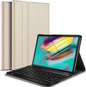 Samsung Galaxy Tab S5e Hoes - Toetsenbord Hoes met Bluetooth Keyboard Case Hoesje  - iCall - Goud