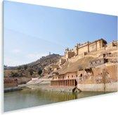 Blauwe lucht boven het Fort Amber Plexiglas 90x60 cm - Foto print op Glas (Plexiglas wanddecoratie)