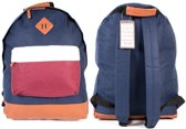 Borderline Trendy Rugzak Rugtas School Tas A4 Navy Wit Bordeaux Rood