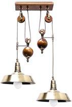 relaxdays Hanglamp voor 2 lichten - Industriële plafondlamp - Verstelbare lamp hout metaal