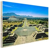 Teotihuacan  Mexico Hout 80x60 cm - Foto print op Hout (Wanddecoratie)