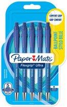 Paper Mate balpen Flexgrip Ultra RT medium, blister van 5 stuks, blauw