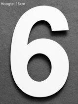 Model 311: Huisnummer RVS Wit Hoogte 15cm  Nummer 6
