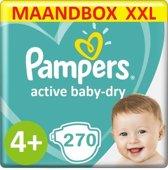 Pampers Active Baby Dry Maat 4+ - 10 tot 15kg - 270 Luiers - Maandbox XXL