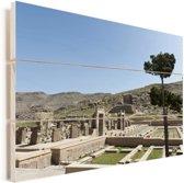 De Hal van Honderd Kolommen bij het Iraanse Persepolis in Azië Vurenhout met planken 90x60 cm - Foto print op Hout (Wanddecoratie)
