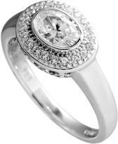 Diamonfire - Zilveren ring met steen Maat 18.0 - Ovale steen - Rondom gezet