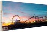 Santa Monica Pier Los Angeles Hout 30x20 cm - klein - Foto print op Hout (Wanddecoratie)
