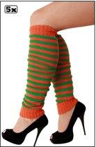 5x Paar Beenwarmers oranje/groen smalle streep