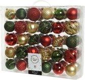 Decoris Kerstballen set - 6 tot 7 cm - 60 stuks - Mix - Kunststof - Rood/goud/groen