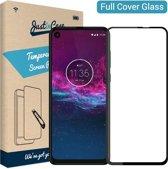 Just in Case Full Cover Tempered Glass voor Motorola One Action - Zwart