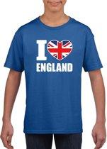 Blauw I love England supporter shirt kinderen - Engeland shirt jongens en meisjes M (134-140)