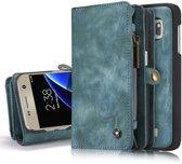 Samsung Galaxy S7 Lederen Portemonnee Hoesje - uitneembaar met backcover (blauw)