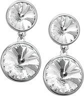 The Jewelry Collection Oorhangers Strass - Zilver Gerhodineerd