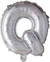 letterballon - 41 cm - zilver - Q