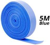 2x 5m Klittenband rol voor kabel organisatie   cable management   Blauw