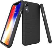 iPhone Xr Hoesje Triangle Texture Armor Back Cover Zwart Premium Case