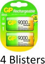 8 Stuks (4 Blisters a 2 st) GP Batteries D Rechargeable battery Nikkel-Metaalhydride (NiMH)