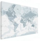Wereldkaart op Canvas - Grijs - Klein 40x30 cm | Wereldkaart Canvas Schilderij