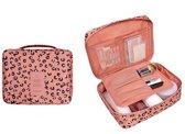 Toilettas roze zwart leopard luipaard dessin | Make up tas | Make-up organizer | Cosmetica tas | Reis organiser
