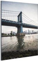 NewYork Manhattan Bridge zonsondergang Aluminium 80x120 cm - Foto print op Aluminium (metaal wanddecoratie)