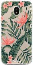 FOONCASE Samsung Galaxy J3 2017 hoesje TPU Soft Case - Back Cover - Tropical Desire / Bladeren / Roze