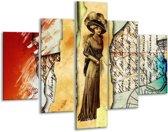 Glasschilderij Vrouw | Bruin, Rood | 100x70cm 5Luik | Foto print op Glas |  F005729