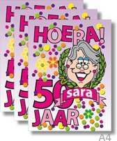 3x Dubbele A4 kaart met envelop - Sara - Formaat: 235 x 310 mm