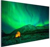 Kamperen onder het noorderlicht Aluminium 60x40 cm - Foto print op Aluminium (metaal wanddecoratie)