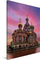 Kerk van de Verlosser op het Bloed in Rusland Canvas 40x60 cm - Foto print op Canvas schilderij (Wanddecoratie woonkamer / slaapkamer)