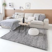 Hoogpolig vloerkleed shaggy Trend effen - lichtgrijs 60x110 cm