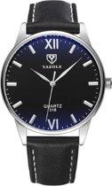 Yazole - heren horloge - zwart -  40 mm - I-deLuxe verpakking