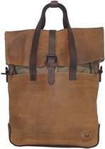 Leather Design Rugzak / Schoudertas / Handtas Leer met Canvas M