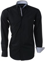 Brentford and Son - Heren Overhemd - Ongetailleerd - Design in de kraag - Zwart