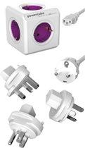 PowerCube ReWirable reisstekker + 3x wereld reis plug + 1 meter IEC EU kabel DE - Wit/Paars - 5 stopcontacten